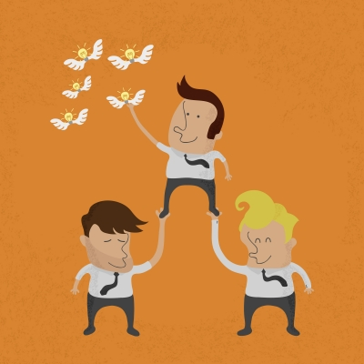 Business People Working As A Team To Grab The Idea by ratch0013