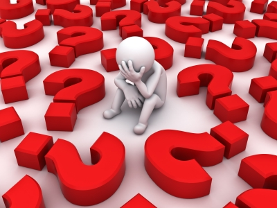 Stressed Figure With Question Mark by Master isolated
